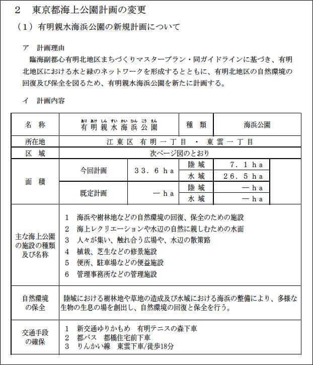 東京都海上公園計画の変更計画理由