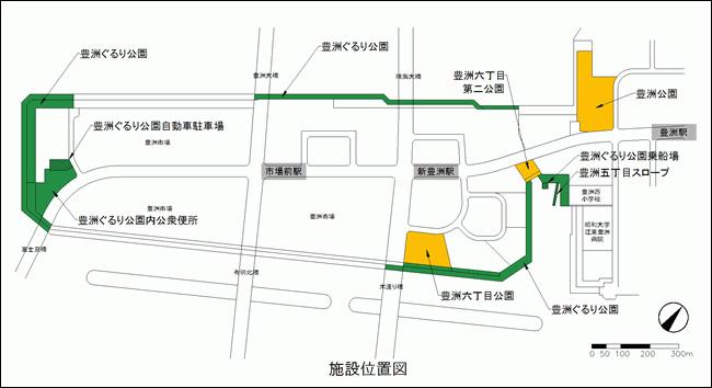 豊洲ぐるり公園開園範囲地図